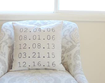 Mothers Day Gift - Mothers Day - Birthdate Sign - Personalized Gift - Met Engaged Married - Special Dates - Dates Pillow - Gifts for Mom