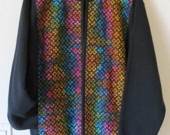 Sweatshirt Jacket with Multicolored Block-print fabric panels