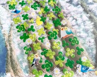Pet Birds green garden Sticker green leaf  clover leaf Lucky leaf sticker gardening planner bird diary sticker Green sticker scrapbook gift