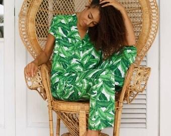Maggie Pajama Set - Long Pants - Palm Leaf / Banana Leaf WHITE - Code P043 / P005 (c)