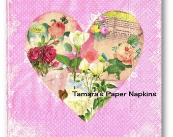 Decoupage Napkins, 4 Single Paper Napkins, BLOOMY HEART PINK Shabby Chic Floral 33cm 13 Inch. 1500 Designs for Papercraft, Visual Arts