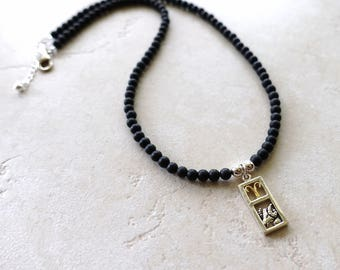 Aries Zodiac Necklace, Sterling Silver Aries Charm, Matte Black Onyx Beaded Chain, Aries Jewelry, Aries Jewellery