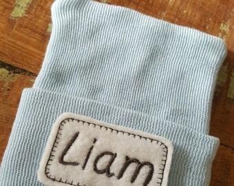 Personalized Baby Boy Hat.  Baby Boy Newborn Hospital Hat, Hospital Newborn Beanie, Baby Name Newborn hat, Newborn Boy hat.