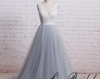 A Line Boho Wedding Dress with Sheer V Cut Back Dusty Blue Tulle Wedding Dress with Ribbon Lace Wedding Dress