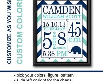 personalized baby decor elephant, chevron new baby boy gift, birth announcement wall art, baby stats, birth stats print, baby room decor