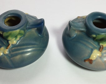 Roseville Pottery Snowberry Blue Candle Holders 1CS1