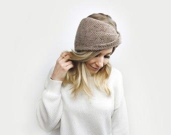 Knit Turban Headband, Twisted Earwarmer ⨯ The Roseaux ⨯ in BLUSH