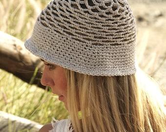 Summer outdoors Bucket hat women Sun hat Summer hat Cotton hat Crochet hat Beige lace hat Beach hat Hemp hat Brim hat Spring hat Straw hat