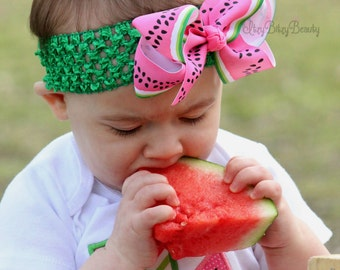 Girls Watermelon Headband Hair Bow Clip Green Pink Elastic