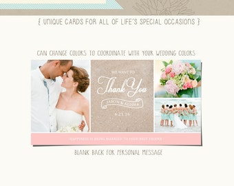 Wedding Thank You Professionally Press Printed Photo Card 4x8