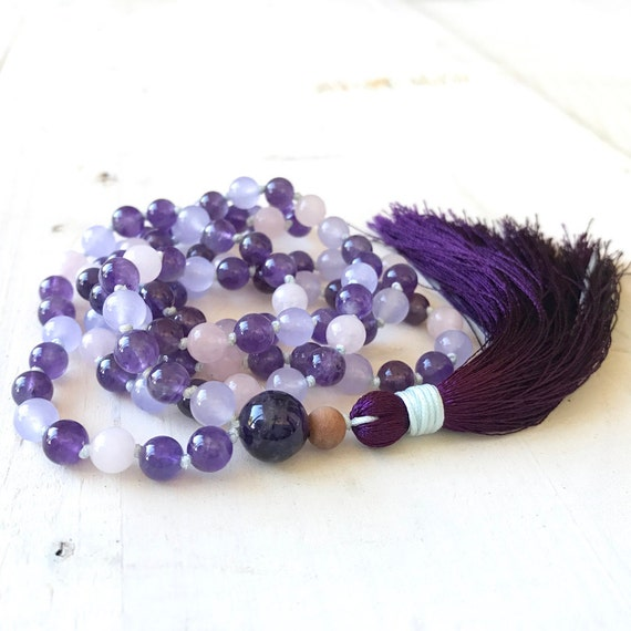 Lift The Spirit Mala, Amethyst And Jade Mala Beads, Purple Mala Necklace, 108 Bead Tassel Mala, Yoga Meditation Beads, Rose Quartz Mala