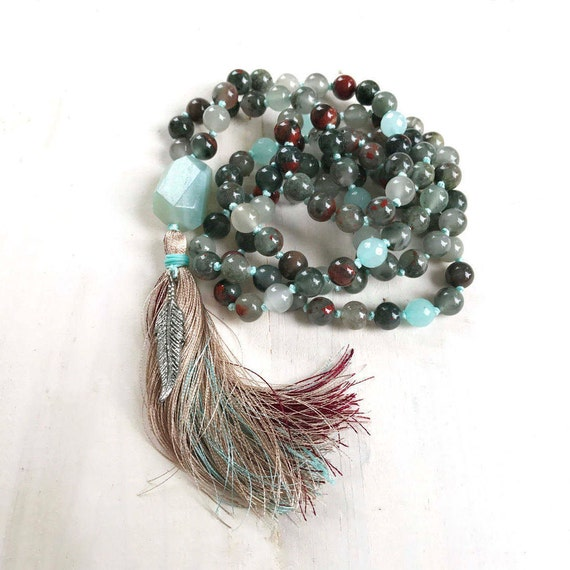 Bloodstone Mala Beads, Root Chakra Mala, Muladhara Mala Necklace, Yoga Meditation Beads, Chakra Healing, Amazonite Guru Bead Mala