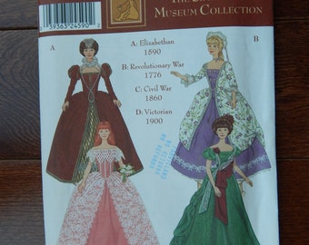 Fashion Doll Clothes Sewing Pattern for 11 1/2 Inch (29cm) Doll/ Simplicity 9521 Museum Collection Elizabethan Revolutionary War / Uncut