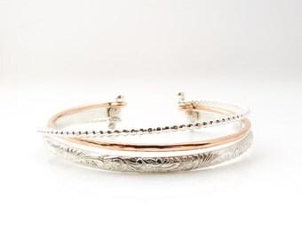 Rose Gold Bracelet, Silver Bracelet, Cuff Bracelet, Adjustable Bracelet, Wrap Bracelet, Multi Strand Bracelet, Made to Order