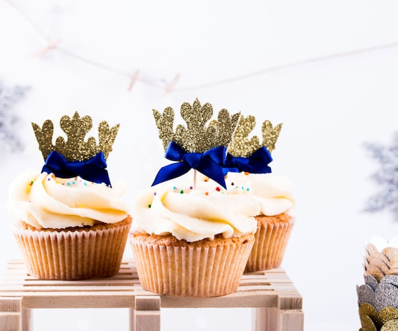 Royal Blue And Gold Party Decorations, Royal Prince Birthday, Crown Cupcake Toppers, Royal Blue Prince, Gold Crown Toppers 12CT