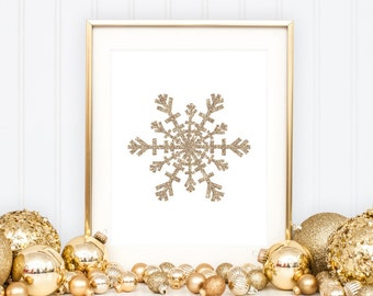 Snowflake Printable Snowflake Print Snowflake Wall Art Christmas Decoration Christmas Printable Winter Decor Holiday Decor Gold Glitter