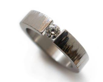 Moissanite Engagement Ring Made From Stainless Steel - Diamond or Moissanite, solitaire ring, diamond wedding ring, rings for her