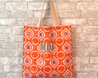 Personalized Womens Tote Bag, Wife Tote Bag, Canvas Travel Tote, Orange Canvas Tote, Canvas Tote with Monogram, Canvas Tote with Name