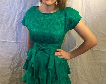 1980s Silk Peplum Dress