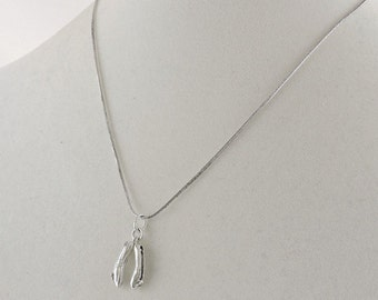 """Sterling Silver Ballerina Shoes Pendant Necklace 18"""""""