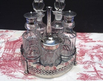 English Cruet Condiment Castor Set, Heirloom Brocante 7 Piece Silver & Glass Set- Oil and Vinegar, Mustard, Salt and Pepper Vintage Crystal