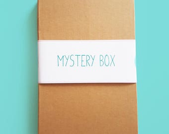 Mystery Box, Lucky Dip of gift ideas, discontinued designs of badges, art prints, greeting cards, necklaces