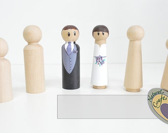 Painted Wooden Bride and Groom
