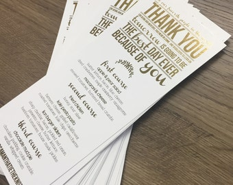 Modern Thank You Rehearsal Dinner or Wedding Menu - Foil Printed - Gold, Rose Gold, Silver, Champagne Gold