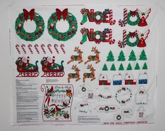 Christmas Large Applique, Christmas Applique Panel, Deck The Halls Christmas Appliques, Colorful Panel Cut Sew Applique, Holiday Craft