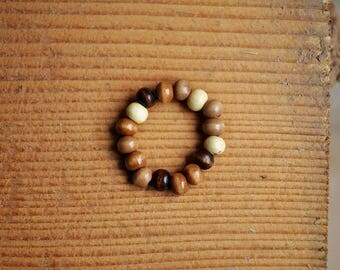 Natural Wood Beaded Stretch Ring (Natural Jewelry, Bohemian Jewelry, Rustic Jewelry, Wood Jewelry)