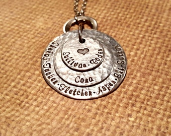 GRANDMA necklace- GRANDKIDS from each family on seperate disc-STACKING 3 disc necklace with heart-handstamped