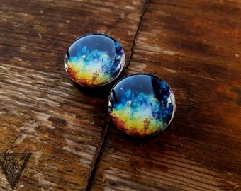 Pair plugs Galaxy image wood ear tunnels 4,5,6,8,10,12,14,16,18,20,25-60mm;6g,4g,2g,0g,00g;1/4,5/16,3/8,1/2,9/16,5/8,3/4,7/8,1 1/4,1 9/16""