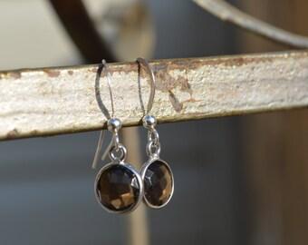 Smoky Topaz earrings, sterling silver gemstone, drop earrings, gift for her, minimalist earrings,crystal earrings, girlfriend gift
