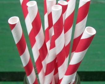 Paper Straws, Red and White Straws, Red Straws, Party Straws, Striped Straws, Wedding, Valentine's, Christmas, Birthday, Party Decoration