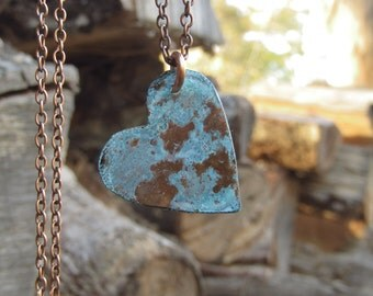 boho long necklace ~ turquoise heart pendant ~ long necklace with pendant