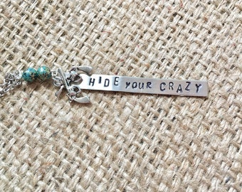 Cowgirl Necklace, Hide Your Crazy, Stamped Necklace, Hand Stamped Jewelry, Quote Necklace, Western Jewelry, Pistol Necklace, Gun Necklace