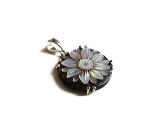 Flower cameo pendant handmade mother of pearl shell 925 silver italian cameo necklace gift for her handcrafted jewelry donadio cameo.