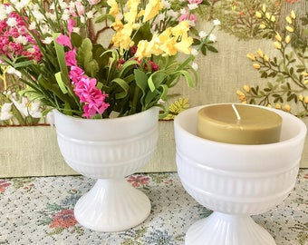 Milk Glass Vase Milk Glass Bowl Wedding Vases for Wedding Centerpiece Vases White Vases Candy Dish Candy Buffet Pedestal Bowl Footed Bowl