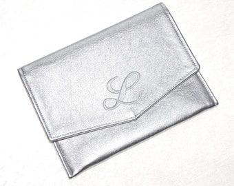 "Silver Bridesmaid Clutch • Bride Handbag • Embroidered Monogram Initial • Evening Handbag • Clutch Purse • Prom Clutch • Metallic • 8"" x 6"""