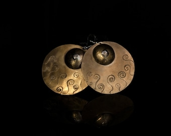 HELENA-handcrafted brass and Silver Earrings with spiral motifs