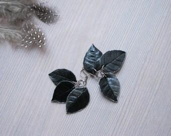 Silver drop earrings Leaf jewelry Dangle leaf earrings Black leaf earrings Silver leaf earrings Silver and black earrings Goth earrings