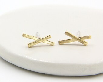 Sterling Silver Post Earrings - Crossover Stud Earrings - Minimalist Flat Bar Gold Post - Post Earrings - Bridesmaids Gift - Gift for Her