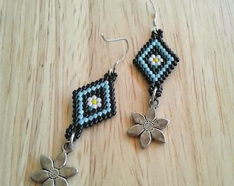 Beaded earrings, seed beaded earrings with sterling silver charm dangles