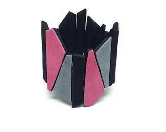 Pink bracelet cuff, Geometric bracelet bangle, Large cuff bracelet, Modern bracelet, Statement bracelet, Trendy bracelet, Gift for her