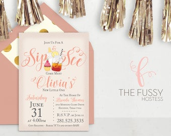 Sip and See Pink Invitation, Baby Shower Invitation, Baby Girl, Baby Shower, Girl, Baby Shower Invitation, Sip n See, Sip and See, Invite