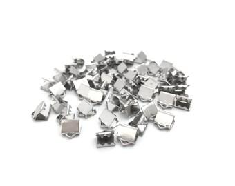 5x6 Silver Plated Crimp Ends, Ribbon Crimp End, Leather Crimp End, End Bar, End Clasp