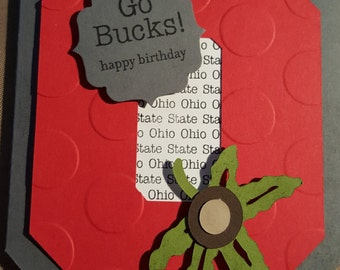OSU Ohio State Go Bucks Happy Birthday Greeting Card OSU Card Buckeye Card Buckeye Birthday OSU Birthday