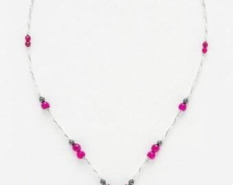 Necklace fuschia Agate Form V