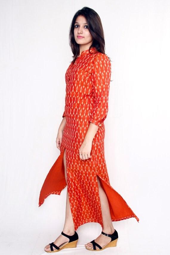 Handloom Cotton Ikat Saas Look Kurti Dress
