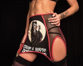 Starve a Vampire Up-cycle tee Suspender Garter Belt